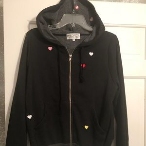 Wildfox Black Hoodie with Hearts Embroidered